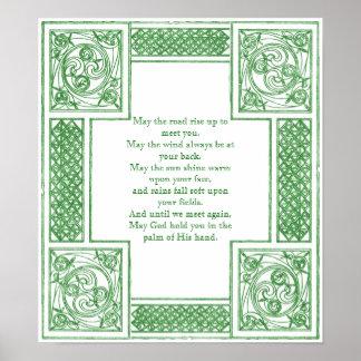 Vieja bendición irlandesa en nudos célticos póster