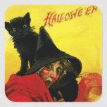 Vieja bruja de Halloween Pegatina Cuadrada