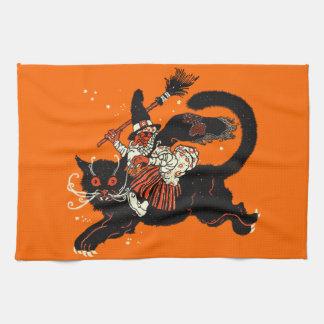 Vieja bruja del vintage que monta un gato negro