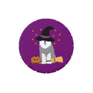 Vieja bruja inglesa del perro de ovejas de Hallowe Jarrones De Caramelos