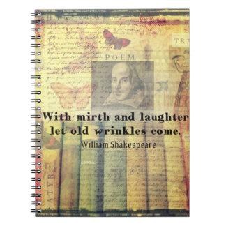 Vieja cita de Shakespeare de las arrugas del Cuadernos