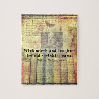 Vieja cita de Shakespeare de las arrugas del Puzzles Con Fotos