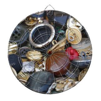 vieja colección de los botones tablero dardos