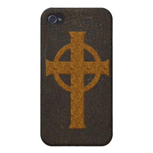 Vieja cruz de cuero de la impresión iPhone 4/4S carcasas