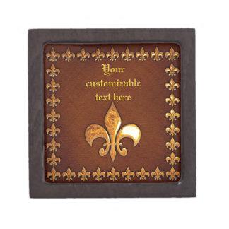Vieja cubierta de cuero con la flor de lis de oro  cajas de joyas de calidad