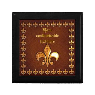 Vieja cubierta de cuero con la flor de lis de oro  caja de joyas