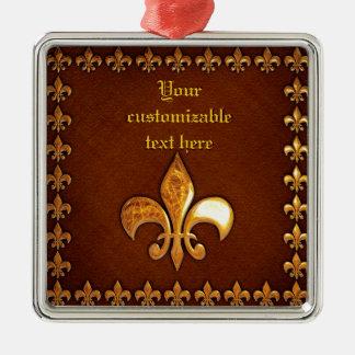 Vieja cubierta de cuero con la flor de lis de oro  adorno para reyes