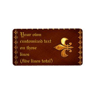 Vieja cubierta de cuero con la flor de lis de oro  etiquetas de dirección