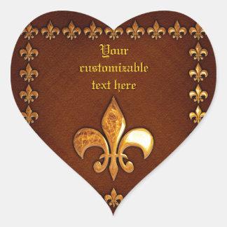Vieja cubierta de cuero con la flor de lis de oro  calcomania corazon