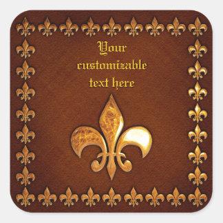 Vieja cubierta de cuero con la flor de lis de oro calcomania cuadradas personalizada