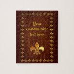 Vieja cubierta de cuero con la flor de lis de oro  puzzles con fotos