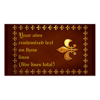 Vieja cubierta de cuero con la flor de lis de oro  tarjetas personales