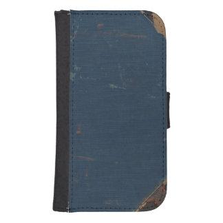 Vieja cubierta de libro azul con los bordes funda cartera para teléfono