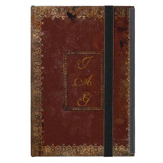Vieja cubierta de libro de cuero del estilo del iPad mini fundas