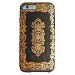 Vieja cubierta de libro de cuero del negro y del funda de iPhone 6 tough