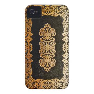 Vieja cubierta de libro de cuero del negro y del iPhone 4 protectores