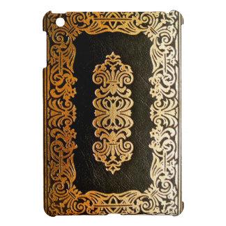 Vieja cubierta de libro de cuero del negro y del o