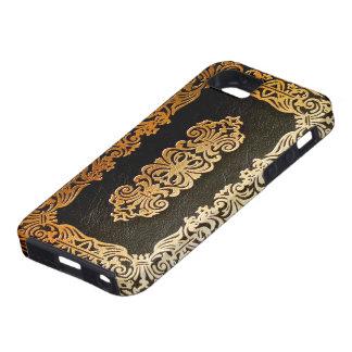 Vieja cubierta de libro de cuero del negro y del o iPhone 5 carcasa
