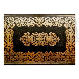 Vieja cubierta de libro de cuero tarjeta de felicitación