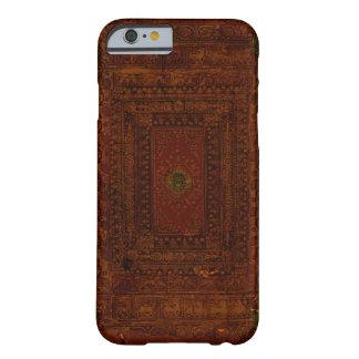 Vieja cubierta del cuero y de libro del latón funda de iPhone 6 barely there