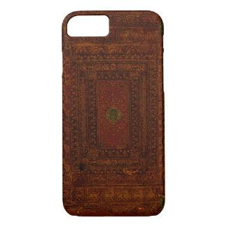 Vieja cubierta del cuero y de libro del latón funda iPhone 7