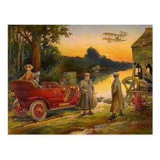 Vieja escena del vintage del biplano y del touring postal