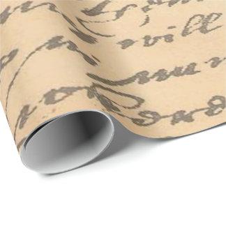 Vieja escritura del vintage papel de regalo
