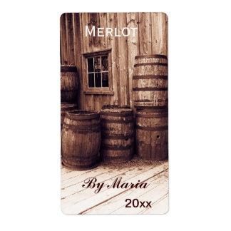 vieja etiqueta de la botella de vino de los barril etiquetas de envío
