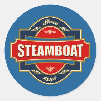 Vieja etiqueta del barco de vapor