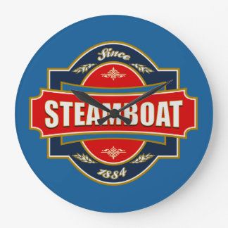 Vieja etiqueta del barco de vapor reloj redondo grande