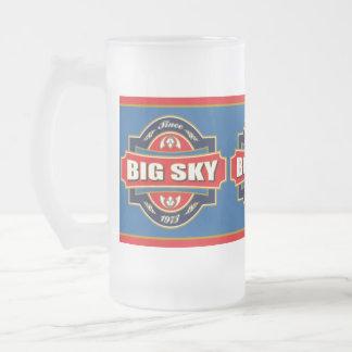 Vieja etiqueta del cielo grande taza de cristal