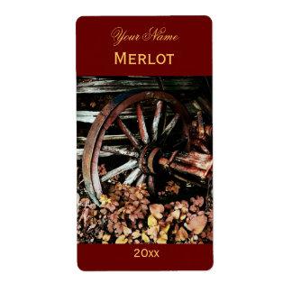 Vieja etiqueta del vino rojo de la rueda del carro etiqueta de envío