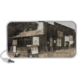 Vieja gasolinera del vintage iPod altavoces
