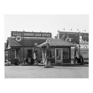 Vieja gasolinera los años 20 tarjeta postal