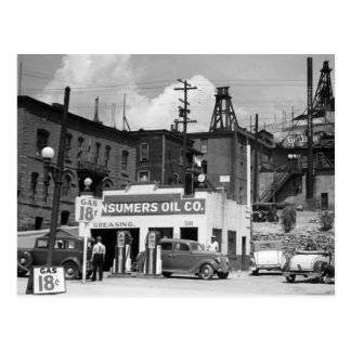 Vieja gasolinera los años 30 tarjeta postal