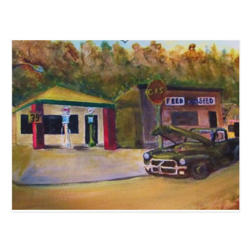 Vieja gasolinera postal