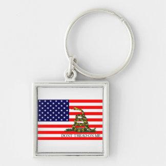 Vieja gloria/bandera de Gadsden combinada Llaveros