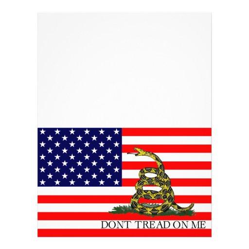 Vieja gloria/bandera de Gadsden combinada Membretes Personalizados