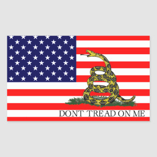 Vieja gloria/bandera de Gadsden combinada Pegatina Rectangular