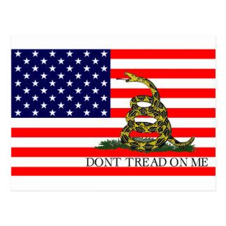Vieja gloria/bandera de Gadsden combinada Tarjeta Postal