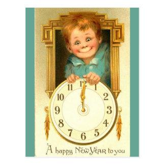 vieja imagen 1900 en la nueva postal del reloj del