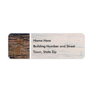 Vieja imagen de madera barnizada etiqueta de remite