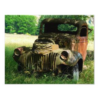 Vieja invitación antigua del camión del vintage invitación 10,8 x 13,9 cm