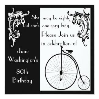Vieja invitación del cumpleaños de la bici de la