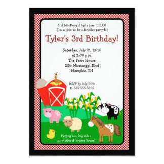 Vieja invitación del cumpleaños de la granja EIEIO