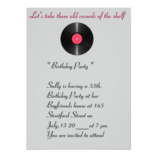 Vieja invitación del cumpleaños de los expedientes invitación 13,9 x 19,0 cm