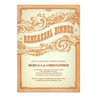 Vieja invitación occidental auténtica de la cena