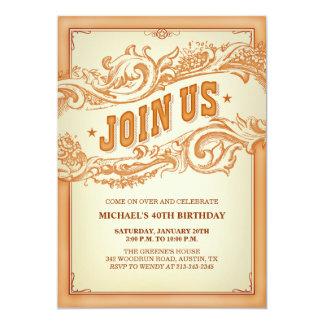Vieja invitación occidental auténtica del fiesta invitación 12,7 x 17,8 cm