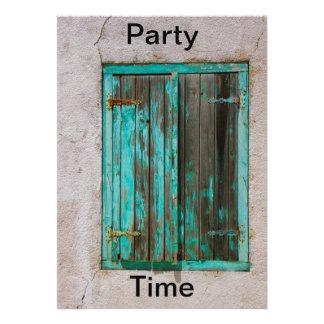 Vieja invitación pintada del tiempo del fiesta de