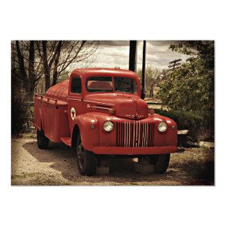 Vieja invitación roja del coche de bomberos invitación 12,7 x 17,8 cm